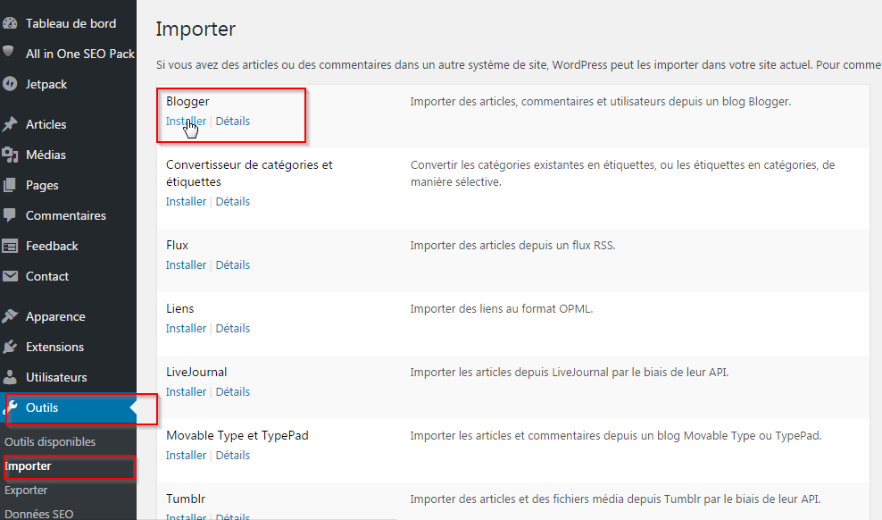 Import Blogger WordPress